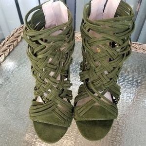 Shoes - NEW Olive Strappy Chunky Peep Toe Heels